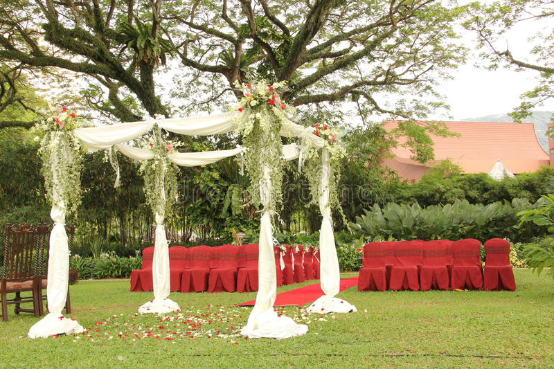Garden wedding arch decoration. With flowers stock images