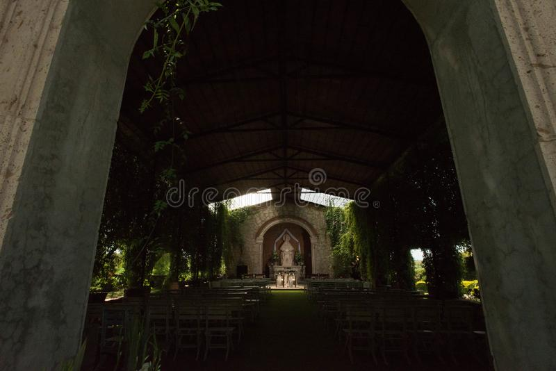 Garden wedding church in Mexican hacienda, little oudoor chapel. Garden wedding church in Mexican hacienda, little outdoor chapel to celebrate outdoor wedding stock photo