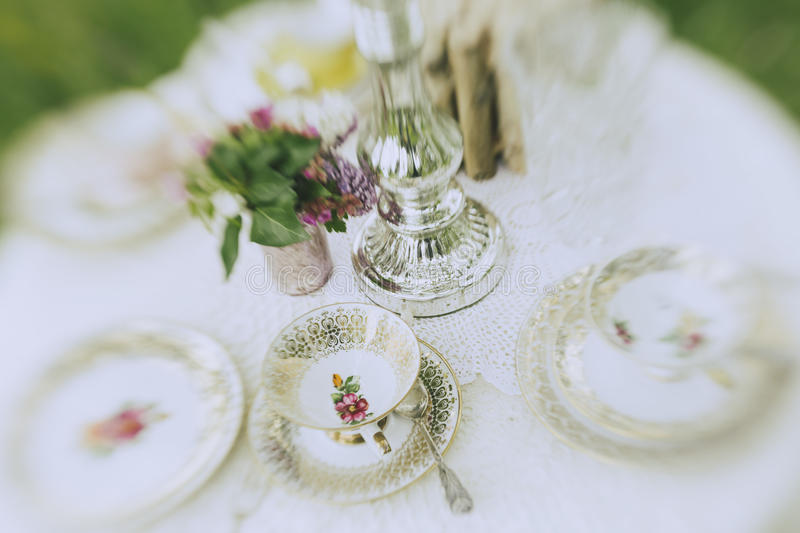 Garden Wedding cofee table royalty free stock photos