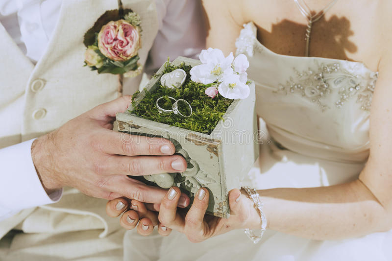 Garden Wedding Rings royalty free stock images