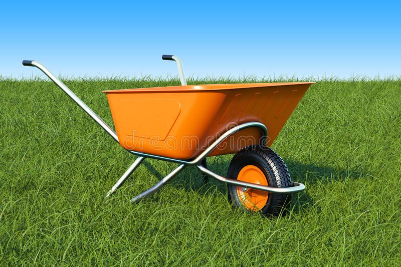 Garden wheelbarrow on the green grass against blue sky, 3d rendering royalty free illustration