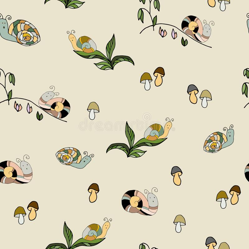 Garden wildlife snail animal vector seamless pattern. Pest spir. Al slimy nature animal stock illustration
