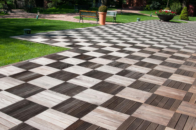 Garden wood pavement. Exterior wood pavement in natural colors royalty free stock photo