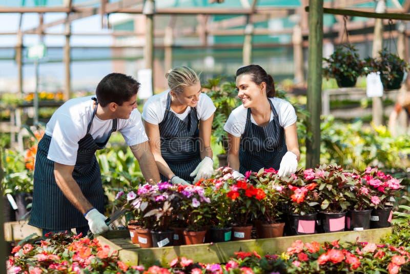 Garden workers working stock image