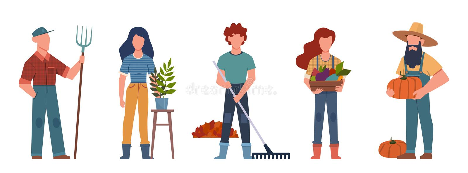 Gardener. Agricultural workers with gardening tools, seasonal job team farmers group, vector characters. Gardener. Agricultural workers with gardening tools royalty free illustration