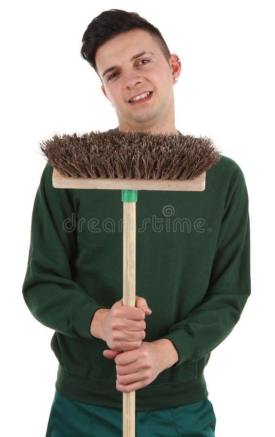 Gardener with a broom royalty free stock images