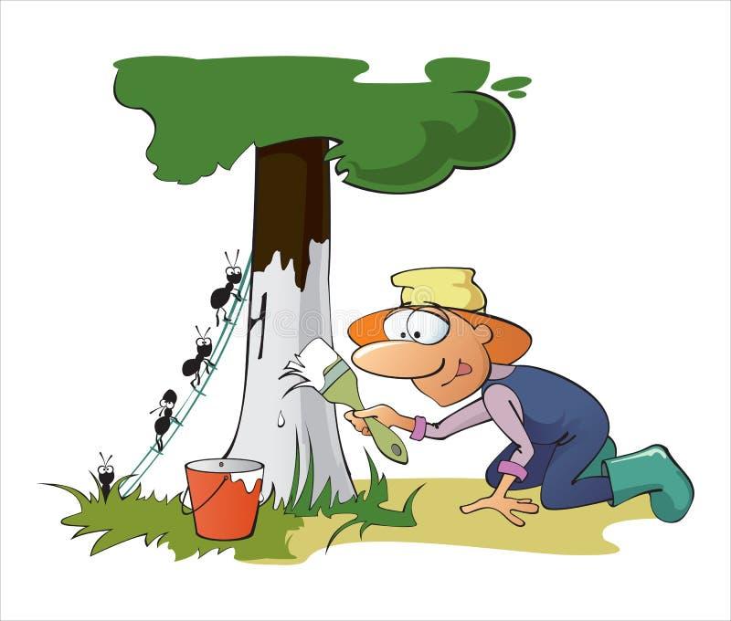 Gardener. Cartoon Vector Illustration of gardener whitewashing tree royalty free illustration