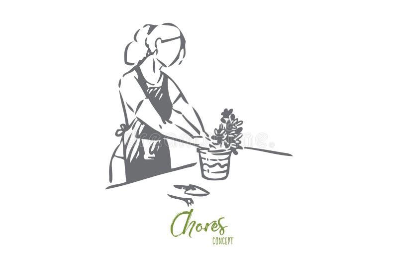 Gardener concept sketch. Isolated vector illustration vector illustration