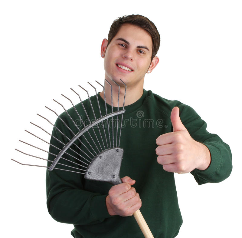 Gardener with a fork. A gardener with a thumbs up sign and a fork stock images