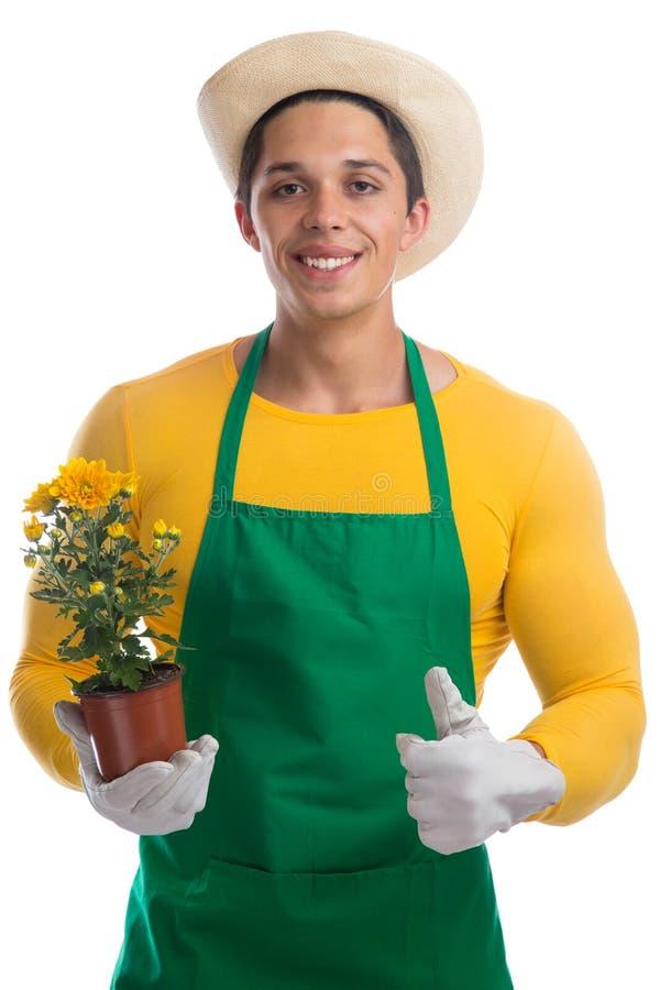 Gardener gardner flower gardening garden occupation thumbs up is. Olated on a white background stock photos