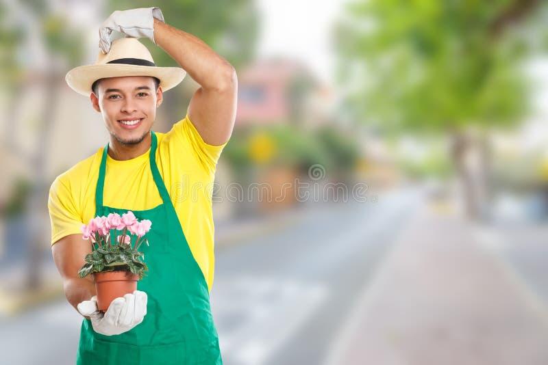 Gardener gardner flower gardening garden occupation town copyspace copy space. Outdoors royalty free stock image