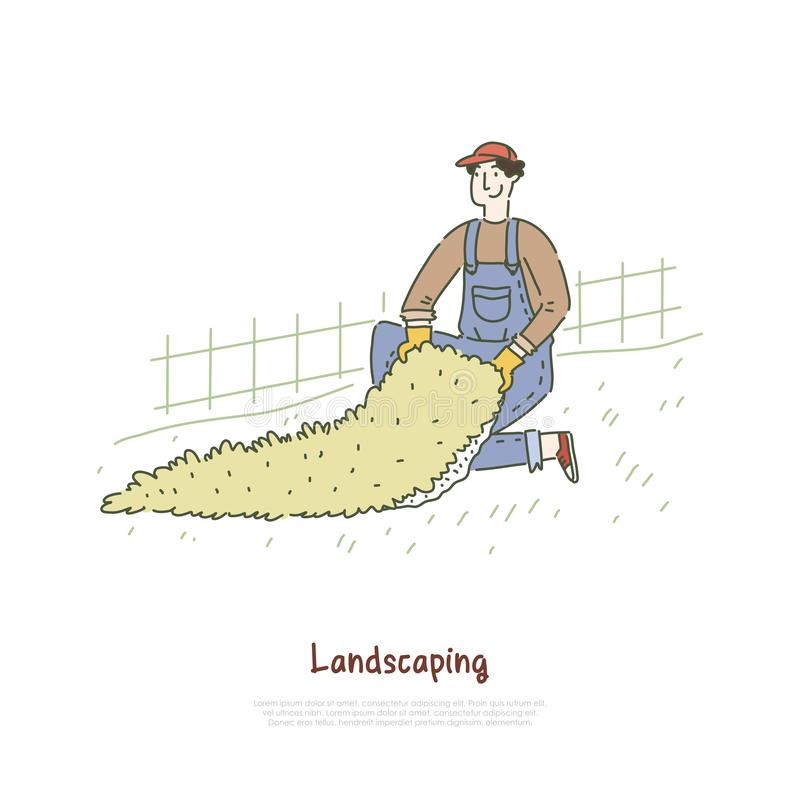 Gardener installing artificial lawn, turf grass rug for football field, landscaper working in park, yard banner template. Landscaping, greenery service concept stock illustration