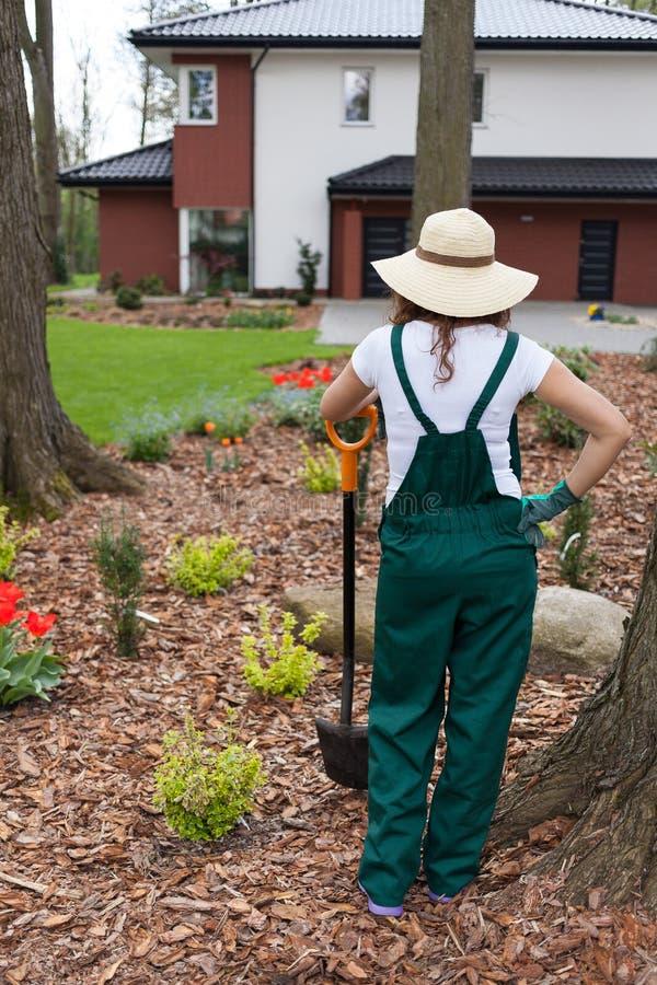 Gardener keeping spade royalty free stock photos