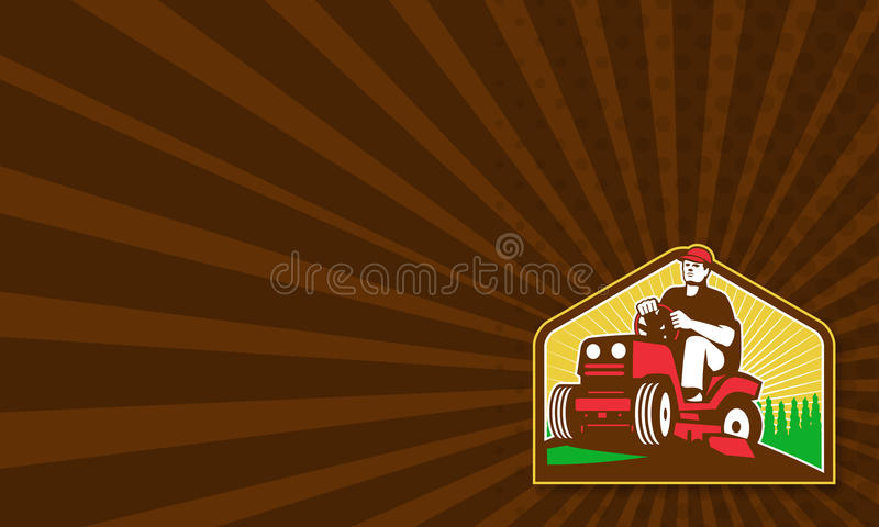 Gardener Landscaper Ride On Lawn Mower Retro. Business card template showing illustration of retro style male gardener riding ride on lawn mower done in retro vector illustration