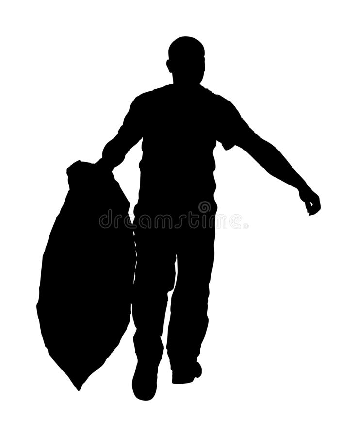 Gardener man with bag of leaves or garbage, trash,  silhouette. Landscaper hold a plastic bag with garbage. Backyard Garden vector illustration