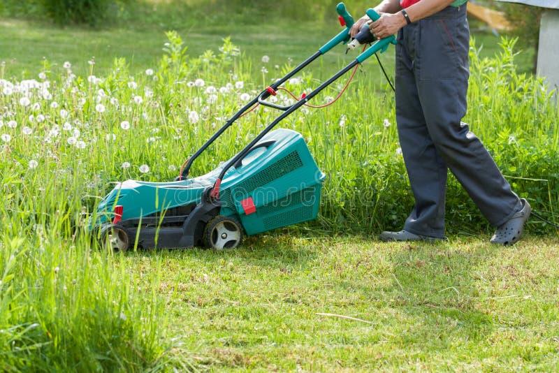 Gardener Mow Grass With Lawn Mower In Garden. Gardener Male Mow Grass With Lawn Mower In His Sunny Summer Garden stock photography