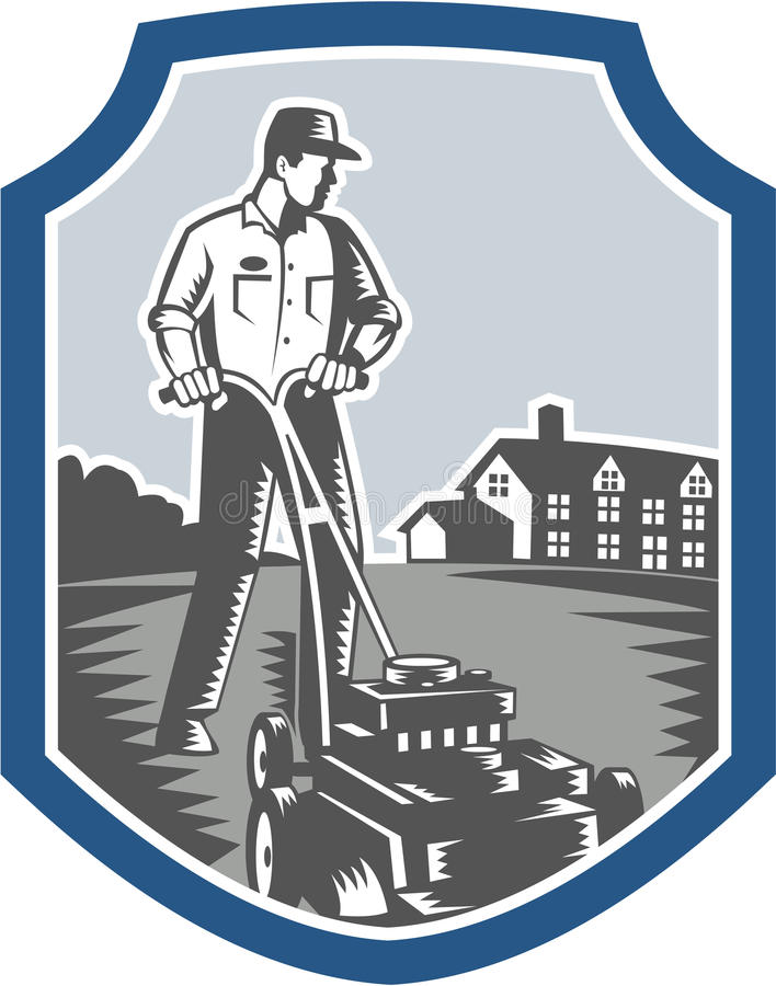 Gardener Mow Lawn Mower Woodcut Shield. Illustration of male gardener mowing with lawn mower facing front set inside shield crest with house in background done stock illustration