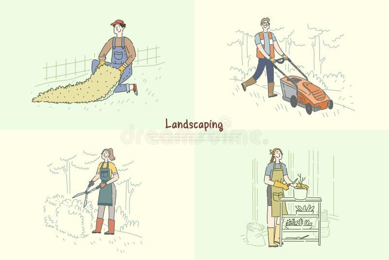 Gardener mowing lawn, handyman installing artificial grass, woman planting flowers, trimming bush banner royalty free illustration