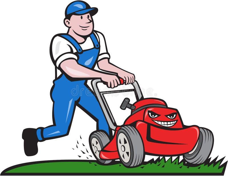 gardener mowing lawn mower cartoon stock vector lawn mowing logo ideas lawn mowing logo