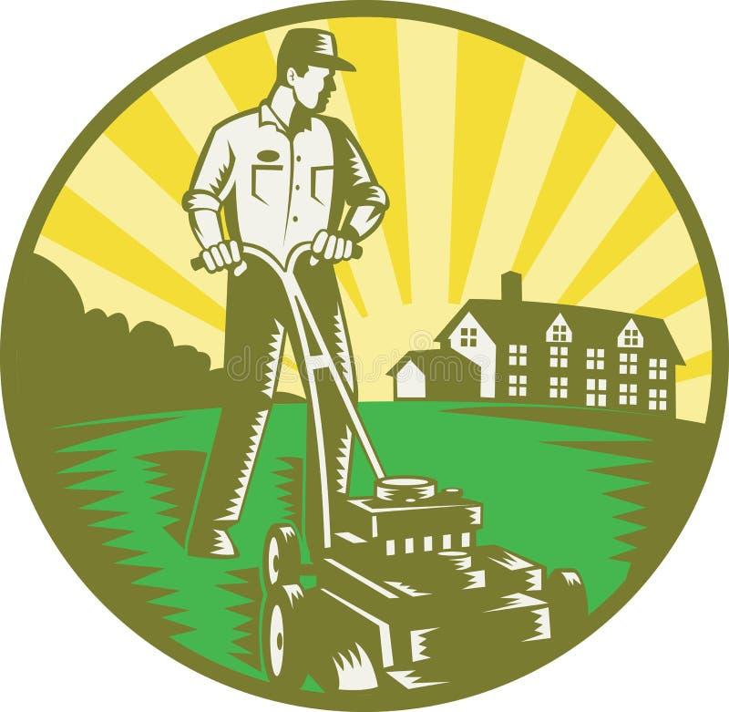 Gardener Mowing Lawn Mower Retro stock illustration