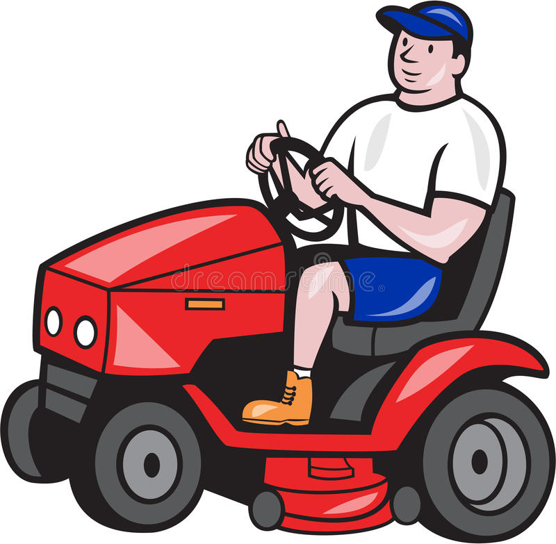 Gardener Mowing Rideon Lawn Mower Cartoon. Illustration of male gardener riding mowing with ride-on lawn mower facing side done in cartoon style on isolated vector illustration