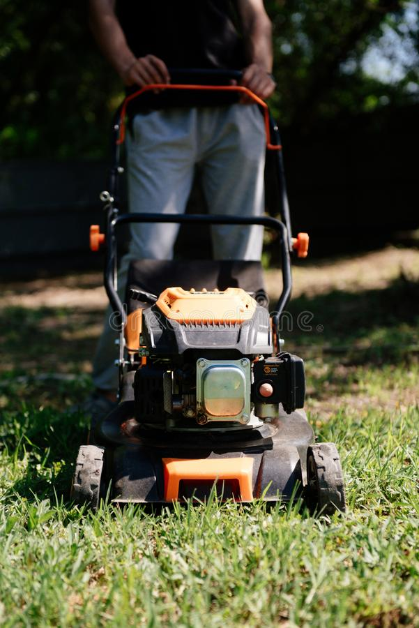 Gardener mows the lawn in the garden with a lawn mower in summer royalty free stock photos