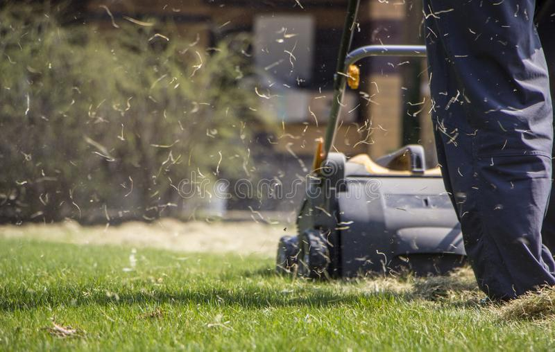 Gardener Operating Soil Aeration Machine on Grass Lawn.  royalty free stock photos