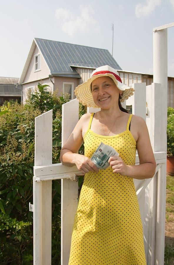 Download Gardener  Outdoor In Her Garden With Cash Stock Image - Image: 14722969