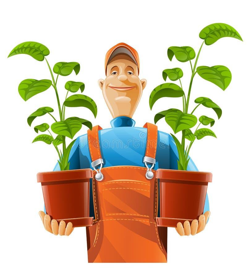 Gardener with plant in flowerpot stock illustration