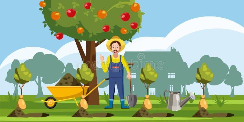 Gardener plant icons set, cartoon style stock illustration