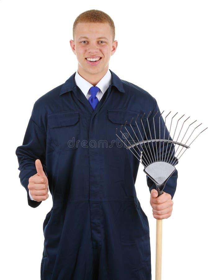 Gardener with a rake stock photo