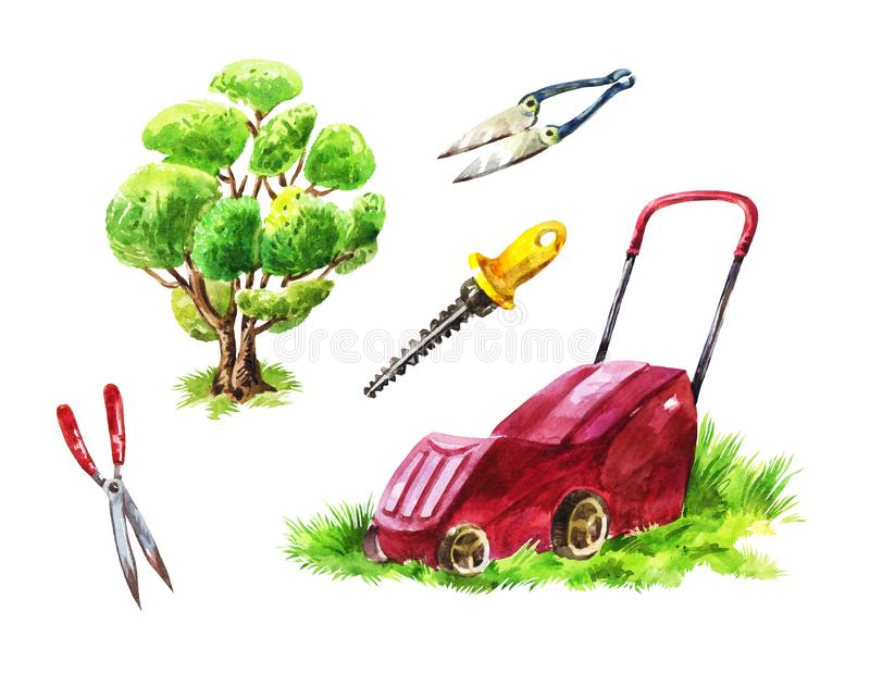 Gardener`s tools for mowing the lawn, cutting shrubs and trees,. Watercolor set of instruments. Gardener`s tools for mowing the lawn, cutting shrubs and trees stock illustration