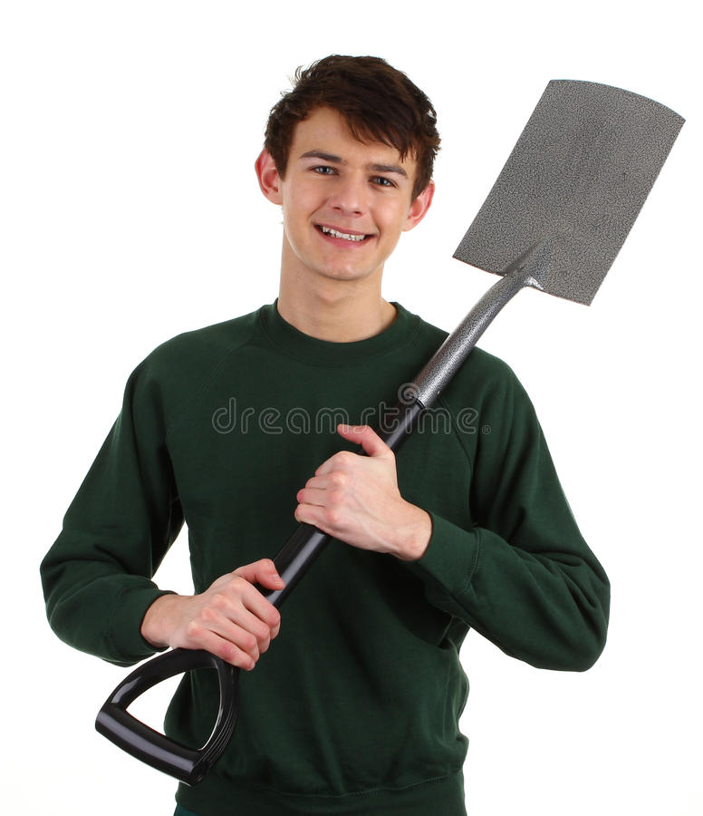 Gardener with a spade. Isolated on white royalty free stock photos