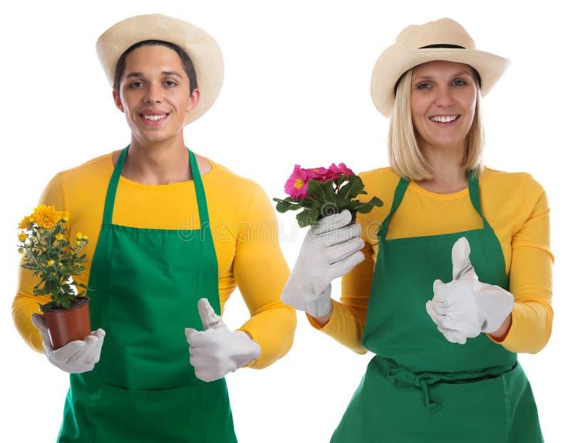 Gardener team gardner flower gardening garden occupation thumbs. Up isolated on a white background royalty free stock image