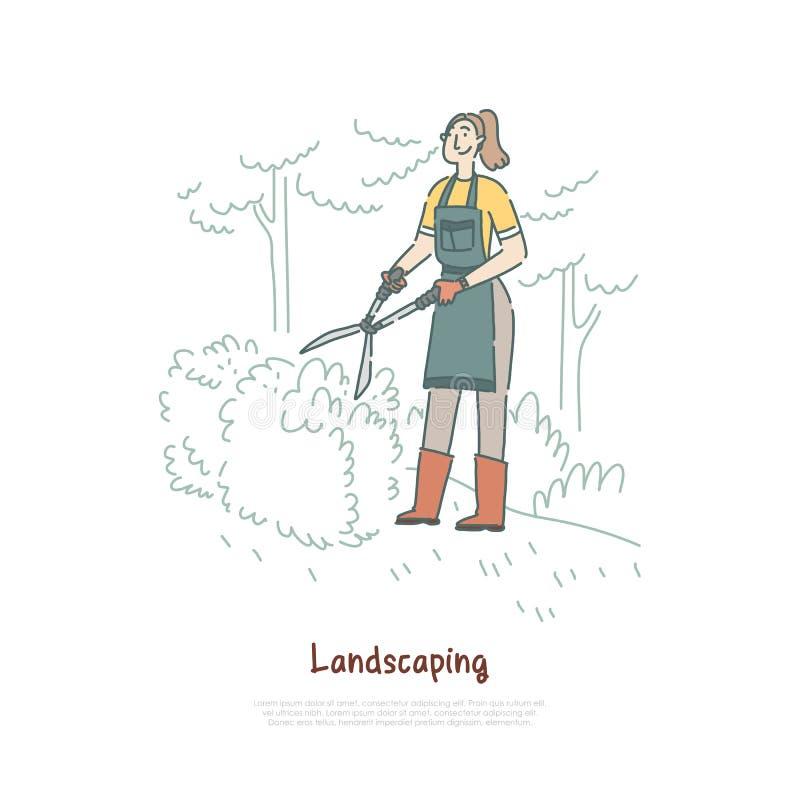 Gardener trimming bushes, woman cutting trees, shrub in backyard, worker using greenery, landscaping equipment banner royalty free illustration