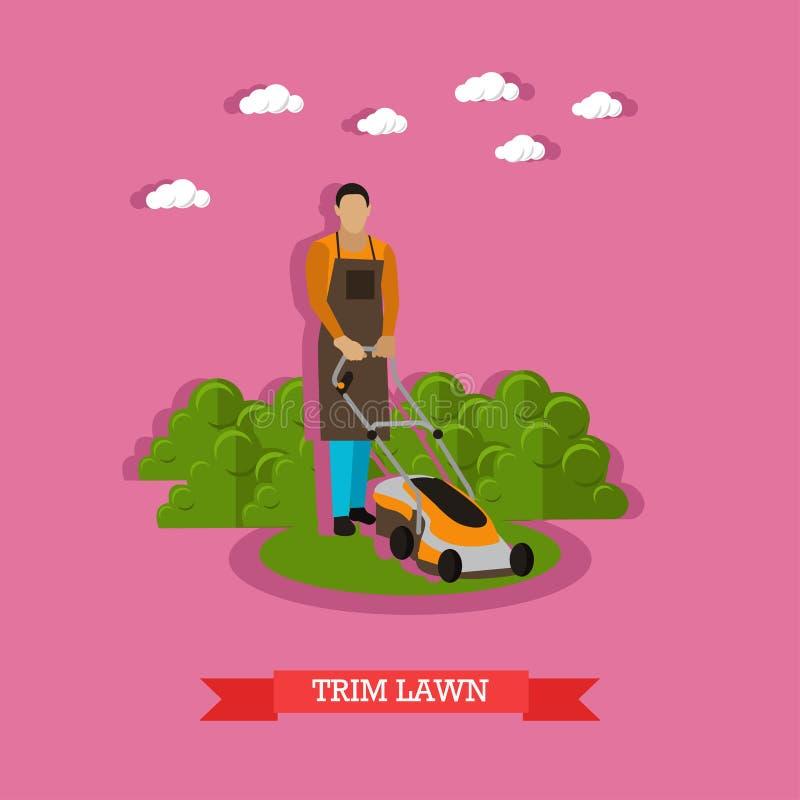 Gardener trimming lawn, vector illustration. Gardener trimming lawn. Garden worker using lawn mower. Service of gardeners. Vector illustration in flat style royalty free illustration