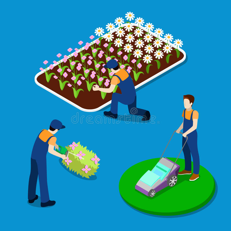 Gardener Trimming Plants. Isometric People royalty free illustration