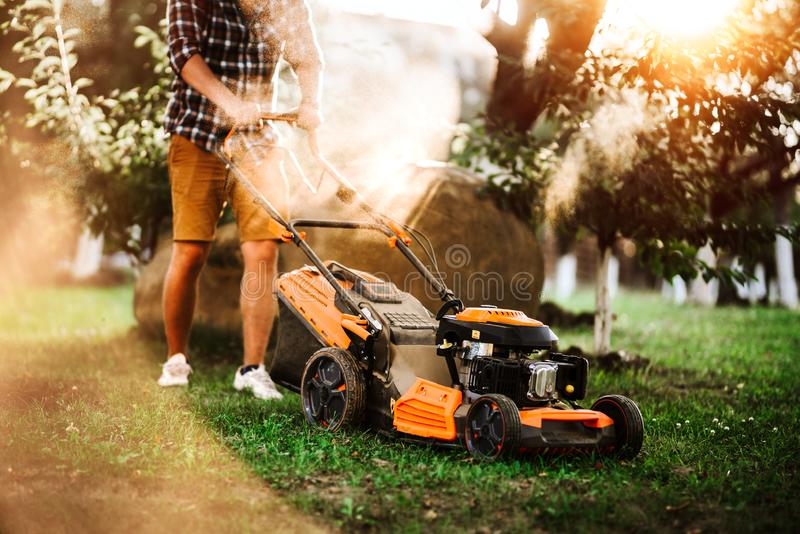 Gardener using industrial lawnmower during summer sunset. Close up details of landscaping and gardening stock photography