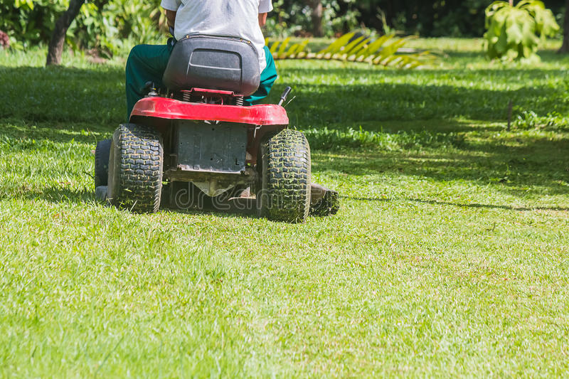 The gardener is using a lawn mower royalty free stock images