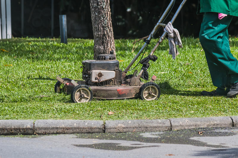 The gardener is using a lawn mower stock photography
