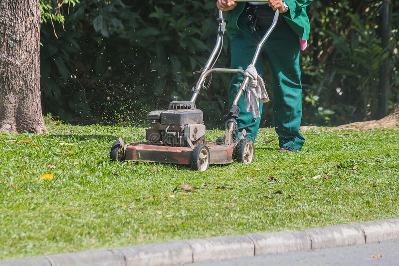 The gardener is using a lawn mower royalty free stock photos