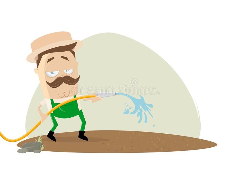 Gardener watering the lawn. Clipart of a gardener watering the lawn vector illustration