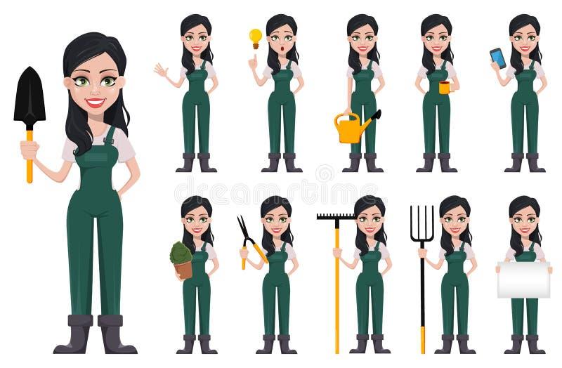 Gardener woman, cartoon character in uniform stock illustration