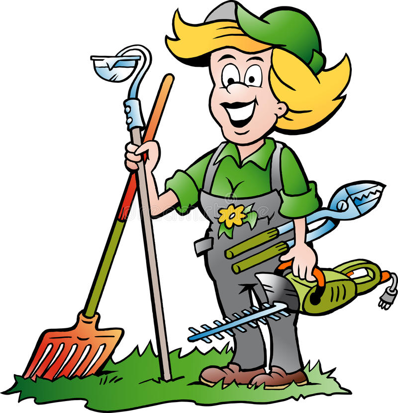 gardener woman standing with he garden tools stock illustration rh dreamstime com gardener clipart free gardener clipart images