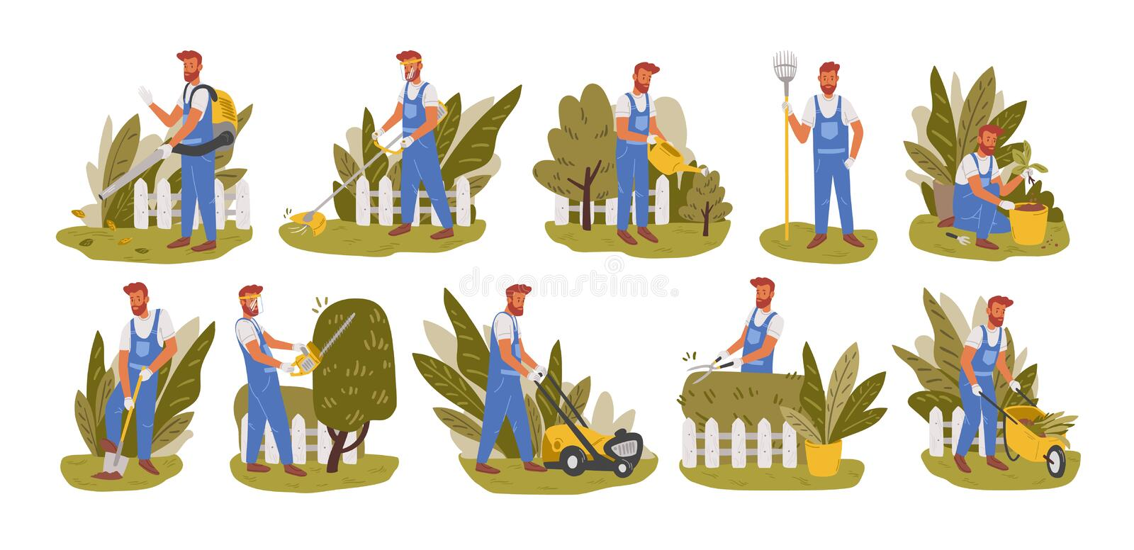 Gardener working flat vector illustrations set. Male handyman character mowing grass, trimming trees and bushes isolated vector illustration