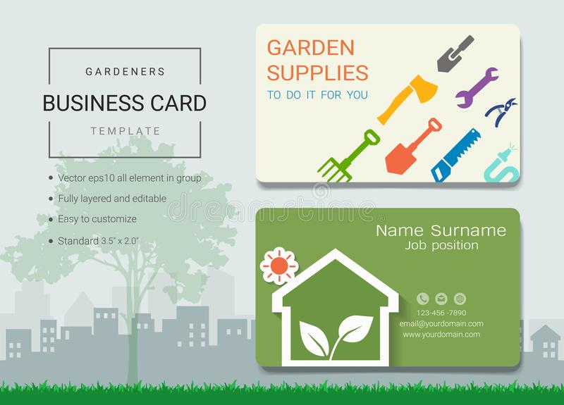 Gardeners business card or name card template. Gardeners business card or name card template, Simple style also modern and elegant with garden supplies tools stock illustration