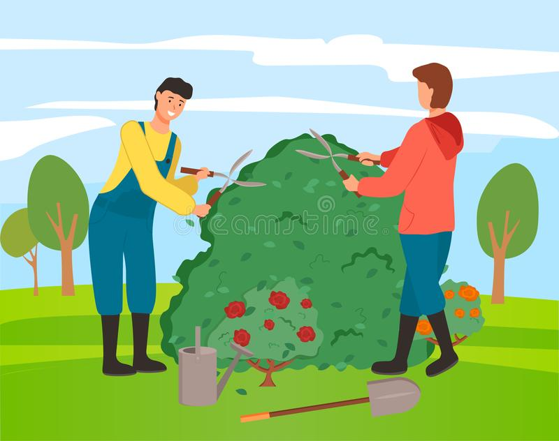 Gardeners Farming People with Bushes of Roses royalty free illustration