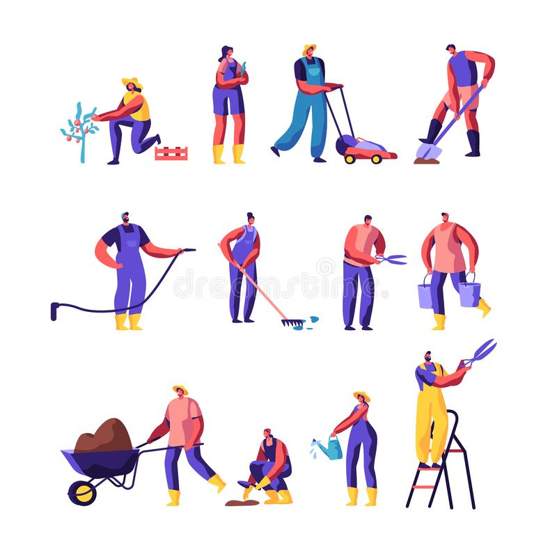 Gardeners Male and Female Characters Growing and Caring of Plants Set, Gardening People Watering, Planting, Raking Trees in Garden stock illustration