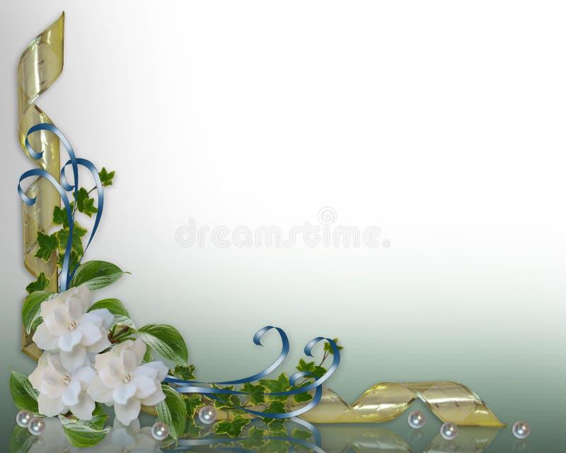 Gardenias de la frontera de la invitación de la boda stock de ilustración