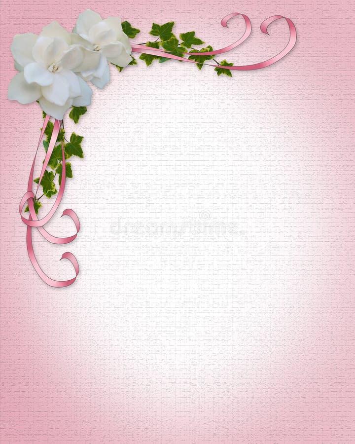 Gardenias del bordo dell'invito di cerimonia nuziale   illustrazione vettoriale